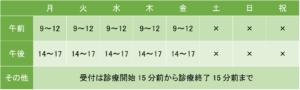 新横浜心のホスピタルの診療時間