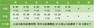 秋浜医院の診療時間