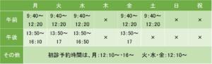 志木北口クリニックの診療時間